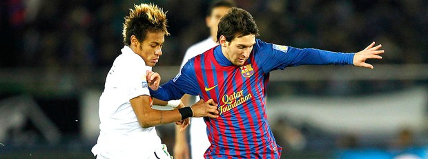Messi e Neymar na final do Mundial entre Santos x Barcelona (Foto: Reuters)
