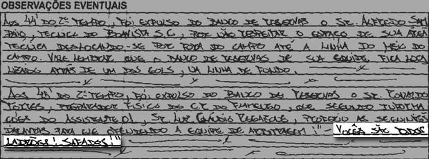 Súmula Boa vista X Flamengo (Foto: Reprodução / Ferj)