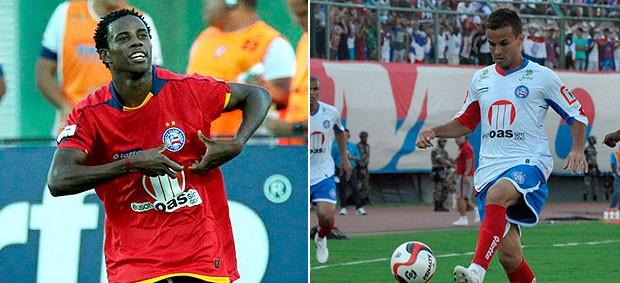 Montagem: Morais e Adriano Michael Jackson com a camisa do Bahia (Foto: Divulgação)