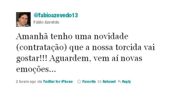 Twitter Fábio Azevedo (Foto: Divulgação)