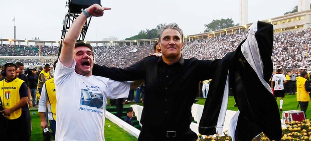 Andres Sanchez e Tite comemoram, Corinthians x Palmeiras (Foto: Marcos Ribolli/Globoesporte.com)