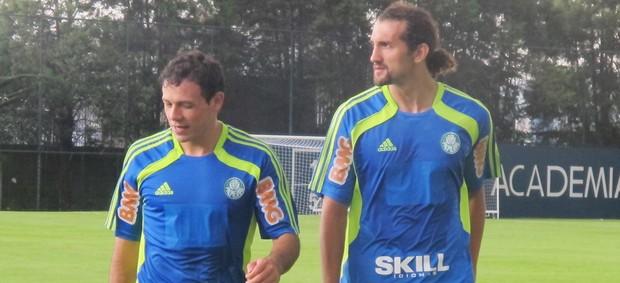 Adalberto Román e Hernán Barcos palmeiras (Foto: Diego Ribeiro/Globoesporte.com)