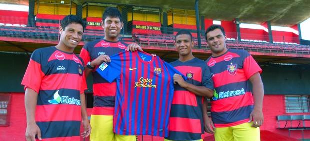 14 de julho livramento baú do esporte rs jogadores camisa do barcelona messi (Foto: Divulgação)