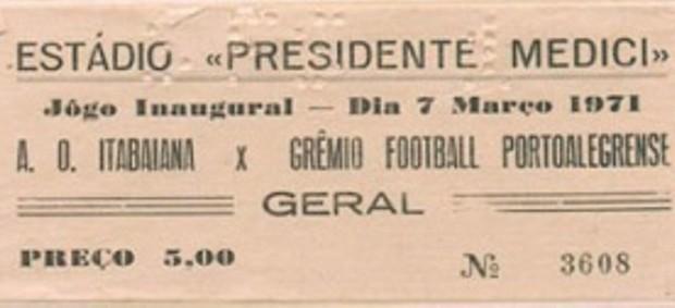 Ingresso do jogo de abertura do Médici, entre Itabaiana e Grêmio (Foto: Divulgação/AOI)