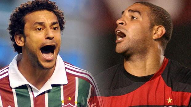 Fred Fluminense Adriano Flamengo (Foto: Montagem sobre foto da Photocamera)