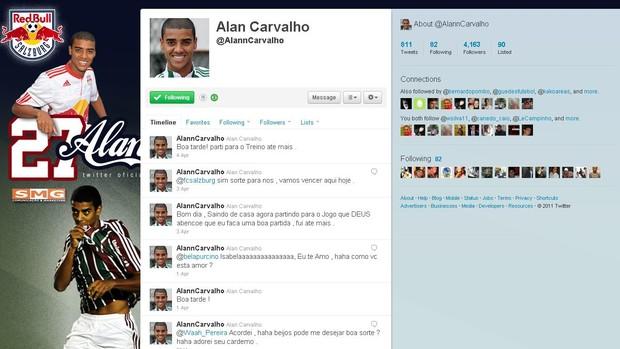 Twiiter do jogador Alan, ex-Fluminense (Foto: Reprodução)
