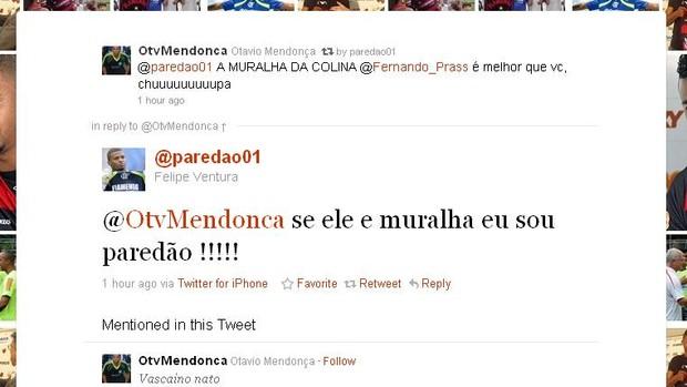 Felipe, do Flamengo, ironiza Fernando Prass (Foto: Reprodução)