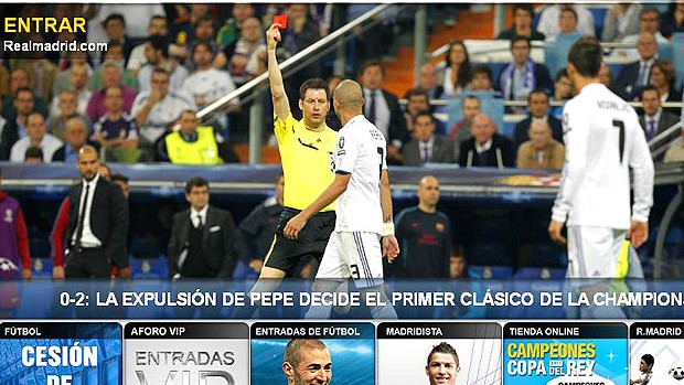 site Real Madrid Pepe derrota (Foto: Reprodução / Site Oficial do Real Madrid)