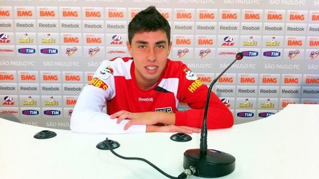 Henrique Miranda durante entrevista coletiva no CT da Barra Funda (Foto: Marcelo Prado / GLOBOESPORTE.COM)