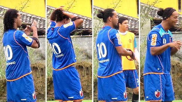montagem Ronaldinho Gaúcho no treino do Flamengo  (Foto: Janir Junior / GLOBOESPORTE.COM)