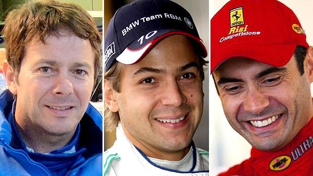 MONTAGEM - Thomas farfus jaime 24h de Le Mans: os três brasileiros da temporada 2011 (Foto: Divulgação)