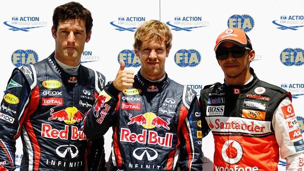 Sebastian Vettel Mark Webber Lewis Hamilton fórmula 1 F-1 Valencia (Foto: Getty Images)