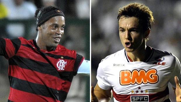 Ronaldinho Flamengo Dagoberto São Paulo (Foto: Montagem sobre foto da VIPCOMM)