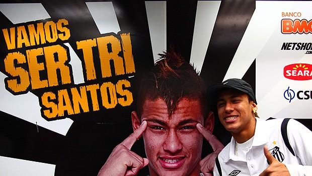 Neymar visita time sub-15 do Santos (Foto: Divulgação Santos FC)