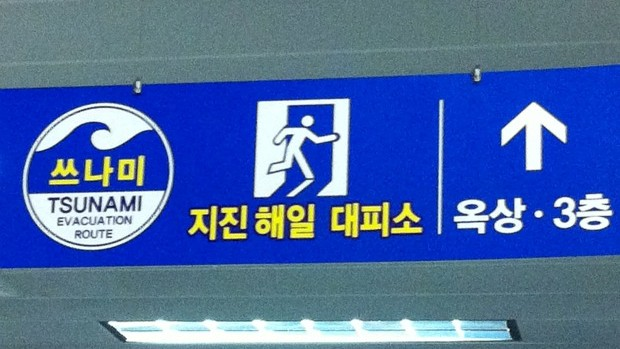 Placa tsunami aeroporto Busan Coreia do Sul (Foto: Divulgação)