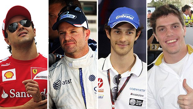 montagem pilotos Massa, Barrichello, Bruno Senna e Razia (Foto: Editoria de Arte / GLOBOESPORTE.COM)
