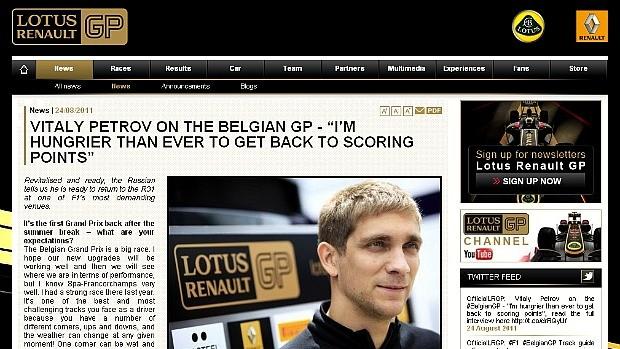 Reprodução site Renault-Lotus notícia Vitaly Petrov (Foto: Reprodução)
