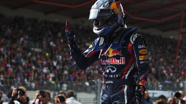 Formula 1 - GP da Bélgica - Vettel comemora (Foto: Reuters)