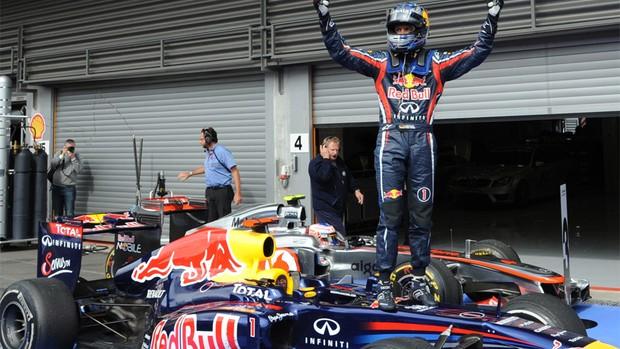 Formula 1 - GP da Bélgica - Vettel comemora (Foto: AFP)