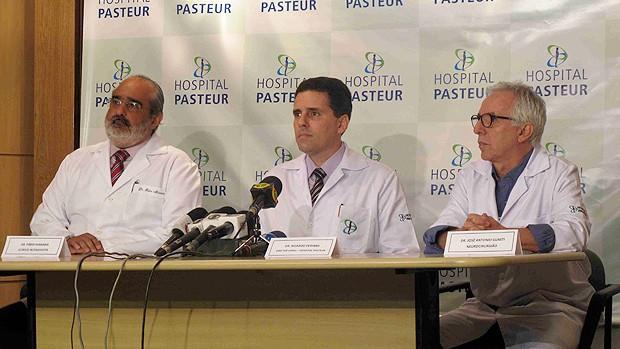 Fábio Guimarães de Miranda, Ricardo Periardi, José Antônio Guasti médicos hospital pasteur ricardo gomes (Foto: Rafael Cavalieri / Globoesporte.com)