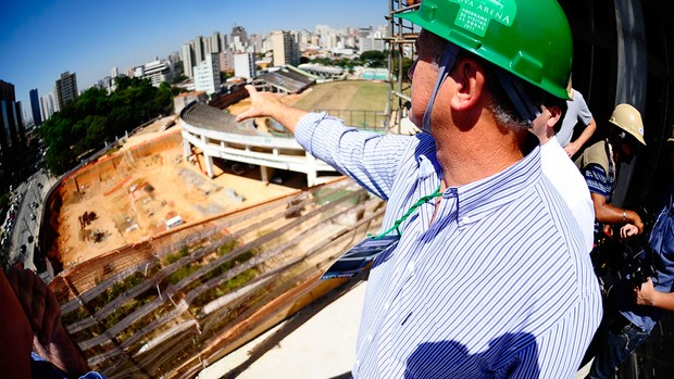 Felipão visita obras na Arena Palestra (Foto: Marcos Ribolli/Globoesporte.com)