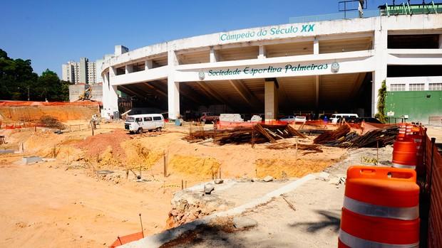 obras na Arena Palestra (Foto: Marcos Ribolli/Globoesporte.com)