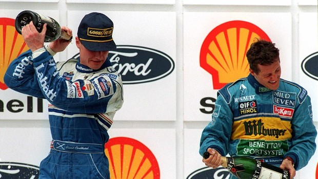 Michael Schumacher David Coulthard GP do Brasil pódio 1995 (Foto: Getty Images)