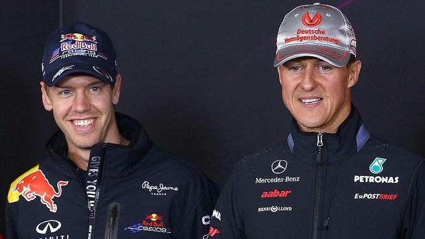 Sebastian Vettel Michael Schumacher coletiva GP da Alemanha (Foto: Getty Images)