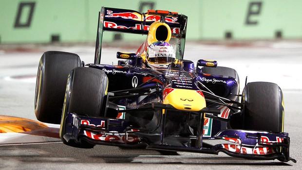 Vettel no treino do GP de Cingapura (Foto: AP)