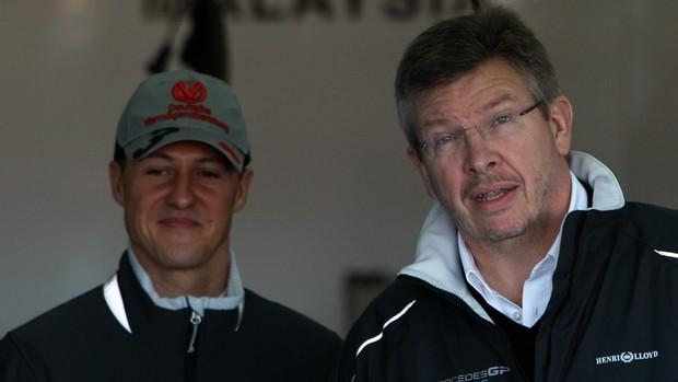 Após parceria vitoriosa na Benneton e na Ferrari, Brawn e Schumi voltaram a trabalhar juntos na Mercedes (Foto: Getty Images)
