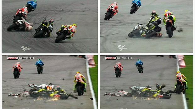 MONTAGEM acidente simoncelli moto gp (Foto: Agência Reuters)