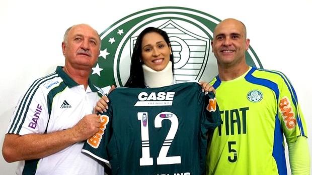 Jaqueline, do vôlei, é homenageada por Felipão e Marcos (Foto: Reprodução / Twitter)