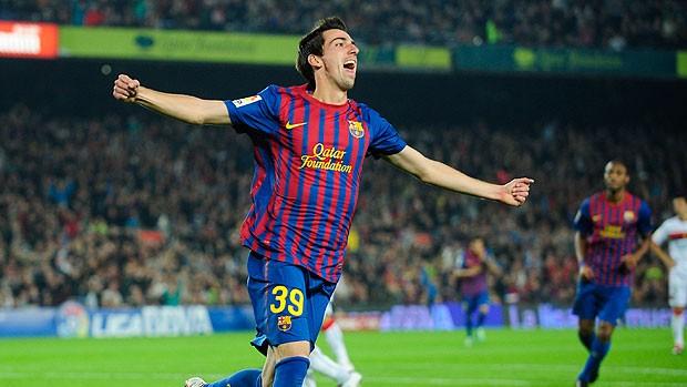 Isaac Cuenca comemora gol do Barcelona contra o Mallorca (Foto: AP)