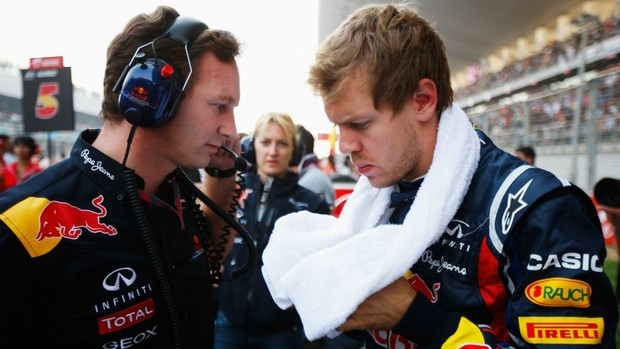 Christian Horner e Vettel no paddock do GP da Índia (Foto: Getty Images)