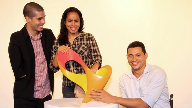 Daniel Dias, Ádria dos Santos e Clodoaldo Silva no lançamento da marca dos Jogos Paraolímpicos Rio 2016 (Foto: Marcio Rodrigues / Fotocom.net)