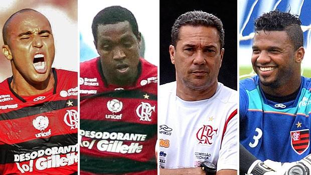 montagem Flamengo ex-jogadores do Corinthians Deivid, Renato Abreu, Luxemburgo e Felipe (Foto: Editoria de Arte / GLOBOESPORTE.COM)