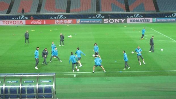 Barcelona em treino (Foto: Thiago Dias / Globoesporte.com)