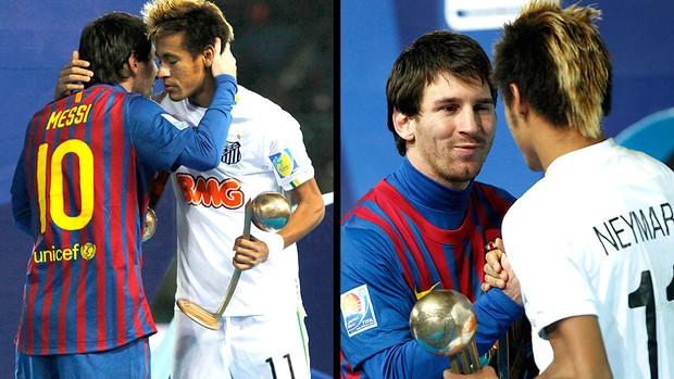 Neymar volta pra casa com as camisas de Puyol e Messi (Reuters)