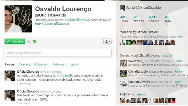 Osvaldo se despede do Ceará pelo Twitter (Foto: Reprodução/Internet)