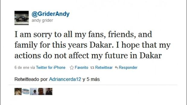 Navegador Andy Grider se desculpou via Twitter pelo abandono no Dakar (Foto: Reprodução Twitter)