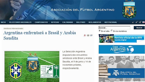 AFA Argentina jogo Brasil  (Foto: Reprodu&ccedil;&atilde;o / Site Oficial)