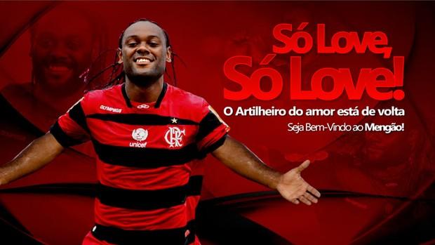 Reprodução site flamengo Vagner Love  (Foto: Site Oficial do Flamengo)