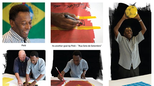 Pelé com o pintor Athol Moult pintando os quadros (Foto: artofpele.com)