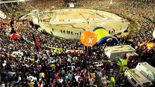 Arena Povos da Amazônia, durane jogo entre Vasco e Flamengo (Foto: Antônio Lima/Semdej)
