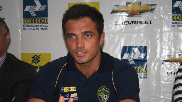 Falcão, coletiva da  Sel. Brasileira de Futsal em Aracaju-SE (Foto: Felipe Martins/GLOBOESPORTE.COM)