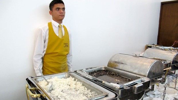 almoço do Corinthians jogo Libertadores (Foto: Carlos Augusto Ferrari / GLOBOESPORTE.COM)