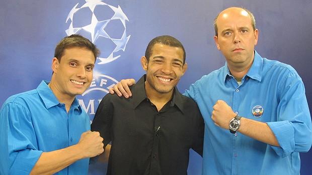 José Aldo e Escobar transmissão champions (Foto: Christiane Mussi / Globoesporte.com)