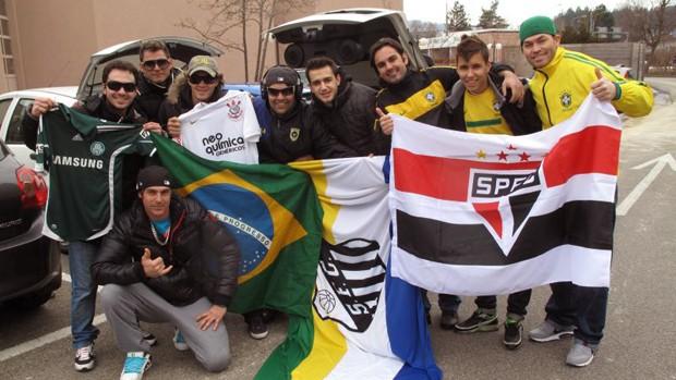 ex-jogadores do Corinthians que foi ao hotel da Seleção (Foto: Marcio Iannacca / GLOBOESPORTE.COM)