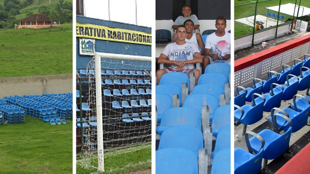 MONTAGEM - cadeiras maracanã estádios bangu americano e bonsucesso (Foto: Divulgação)