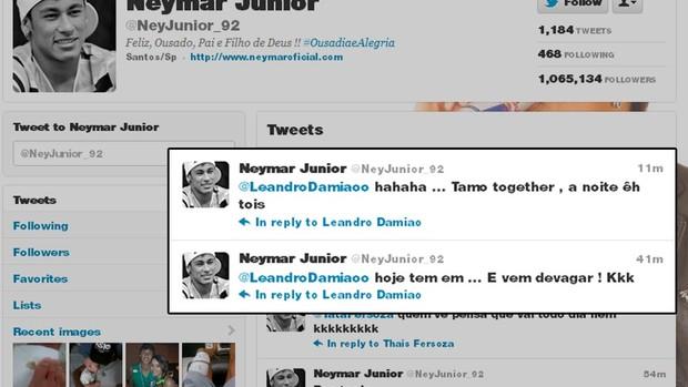 Print Twitter do Neymar falando com Leandro Damião (Foto: reprodução twitter)